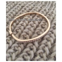 Bracelet Jonc contour Zirconium Ouvrable Plaqué or 18CARATS 750/000 Bijoux Femme