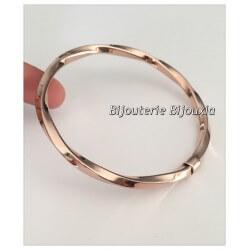 Magnifique Bracelet Tendance Jonc Torsadé Acier couleur or rose Bijoux Femme