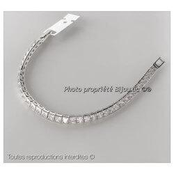 Bracelet Rivière Cristaux Oxyde de Zirconium Carré Argent Massif 925/1000 Bijoux