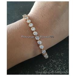 Bracelet 30 Cristaux Oxyde de Zirconium  Plaqué or 18CARATS 750/000 Bijoux Femme
