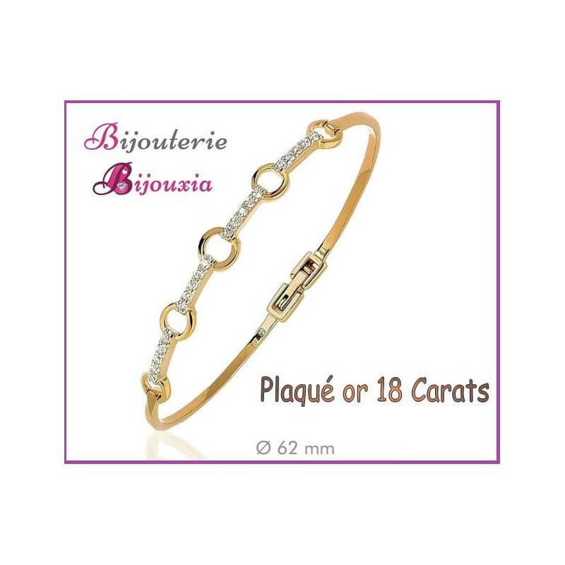 Bracelet Jonc Cercles Zirconium Ouvrable Plaqué or 18CARATS 750/000 Bijoux Femme