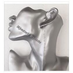 Boucles D'oreilles Double Chaîne pendantes Argent Massif 925/000 Bijoux Femme