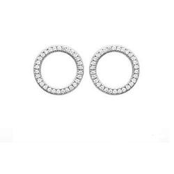 Boucles D'oreilles Cercle Zirconium Argent Massif 925/000 Rhodié Bijoux Femme