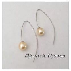 Boucles D'oreilles Originales Perles Argent Massif 925/1000 Rhodié Bijoux Femme