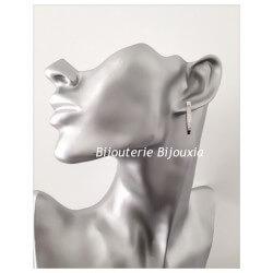 Boucles D'oreilles Créoles Triangulaire Zirconium Argent Massif Rhodié Bijoux