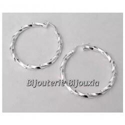 Boucles D'oreilles Créoles Torsadées 3,5cm  Argent Massif 925/1000 Bijoux Femme