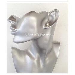 Boucles D'oreilles Perle et Cristal Argent Massif 925/1000 Rhodié-Bijoux Femme