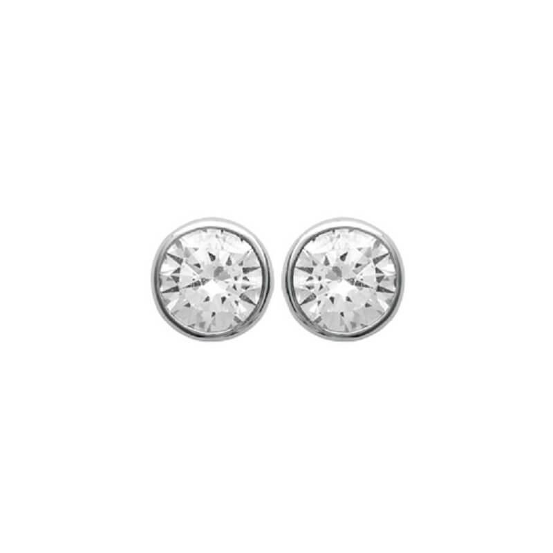 Boucles D'oreilles Puces  Zirconium Argent Massif 925/000 Rhodié Bijoux Femme