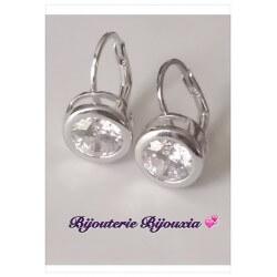 Boucles D'oreilles Dormeuses Zirconium-Argent Massif 925/000-Rhodié Bijoux Femme
