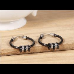 Boucles D'oreilles Créoles Céramique noire charmes pendants Bijoux Femme