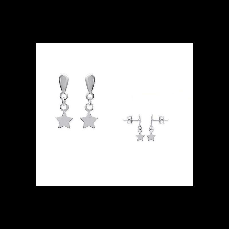 Boucles D'oreilles pendantes étoiles  Argent Massif 925/1000 Rhodié Bijoux femme