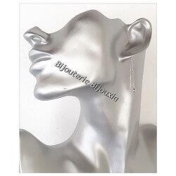 Boucles D'oreilles Chaîne pendantes Argent Massif 925/000 Bijoux Femme