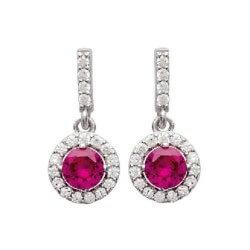 Boucles D'oreilles pendantes CZ Rubis -Zirconium- Argent 925/1000 - Bijoux Femme