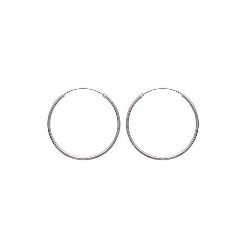 Boucles D'oreilles Créoles Lisses 4 cm Argent Massif 925/1000 Bijoux Femme