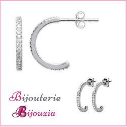 Boucles D'oreilles Demi-Créoles Microserti Zirconium Argent 925 Rhodié Bijoux