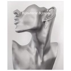 Boucles D'oreilles Pendantes Plumes Argent Massif 925 Bijoux Femme