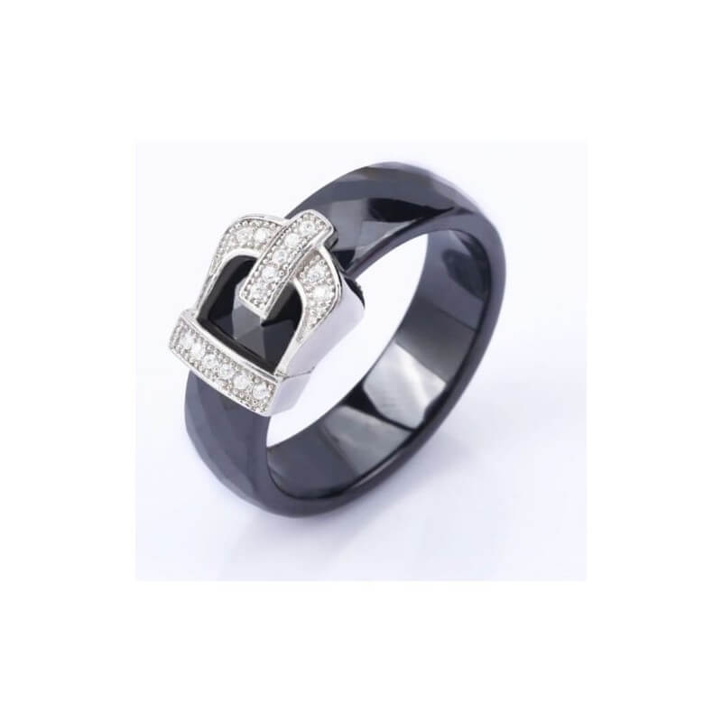 Bague céramique boucle de ceinture Noir T.58 Cristaux Zirconium Bijoux Femme