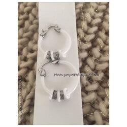 Boucles D'oreilles Créoles Céramique blanche charmes pendants Bijoux Femme