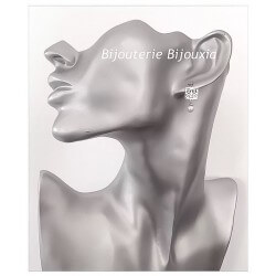 Boucles D'oreilles pendantes Dentelle D'Argent 925 & Perle Majorque Bijoux Femme