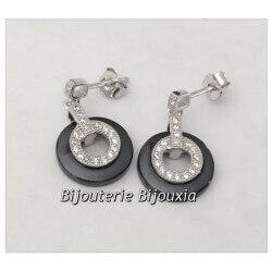 Boucles D'oreilles Pendantes Céramique Noire Zirconium Et Argent 925