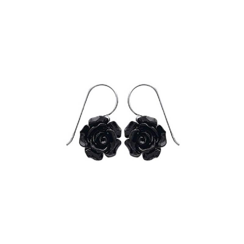 Boucles D'oreilles Fleur Rose Argent Massif 925/1000 Et Céramique Bijoux Femme