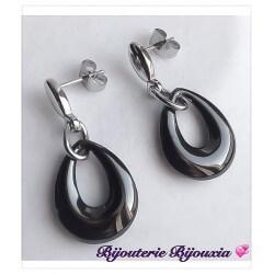 Boucles D'oreilles Pendantes Acier Inoxydable 316L Céramique Bijoux Femme