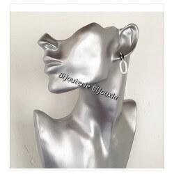 Boucles D'oreilles Pendantes Céramique Noire&Blanche Zirconium Et Argent 925