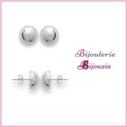 Boucles D'oreilles Demi-Boules 8 MM Argent Massif 925/1000 Rhodié Bijoux Femme