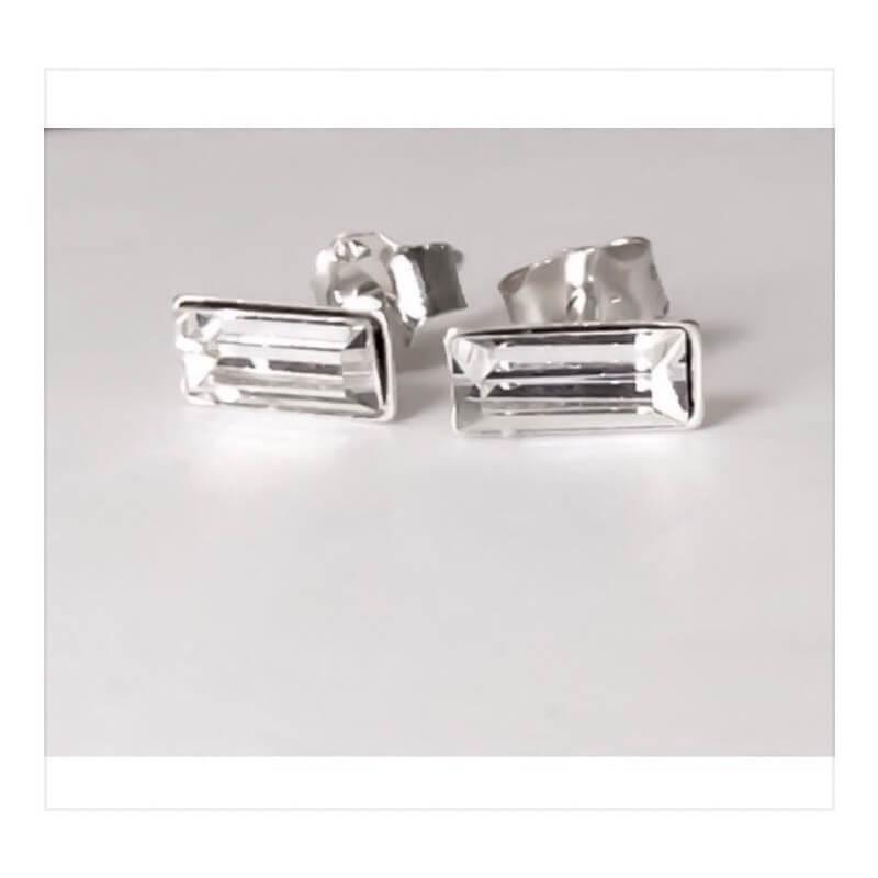 Boucles D'oreilles Rectangle Zirconium Argent Massif 925/000 Bijoux Femme