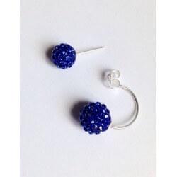 Boucles D'oreilles Boules Shamballa Argent 925 Et Cristal De Swarovski Eléments