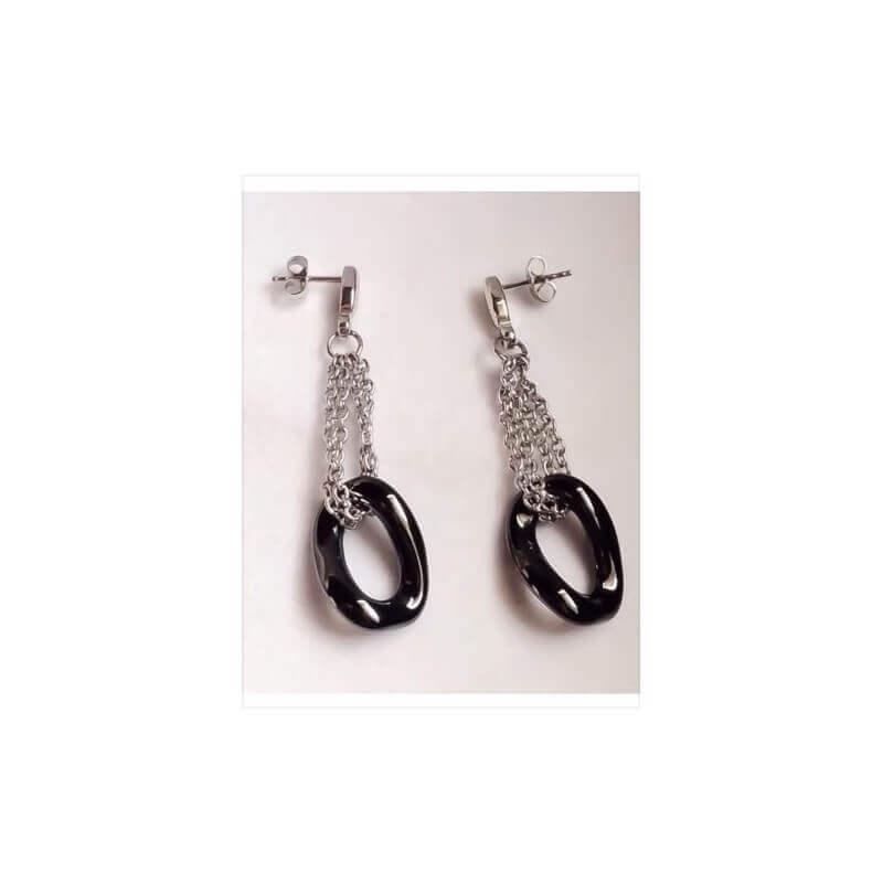 Boucles D'oreilles Pendantes En Pure Céramique Et Acier Inoxydable -Bijoux Femme