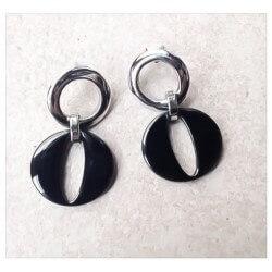 Boucles D'oreilles Pendantes- Acier Inoxydable 316L-Céramique Noire-Bijoux Femme