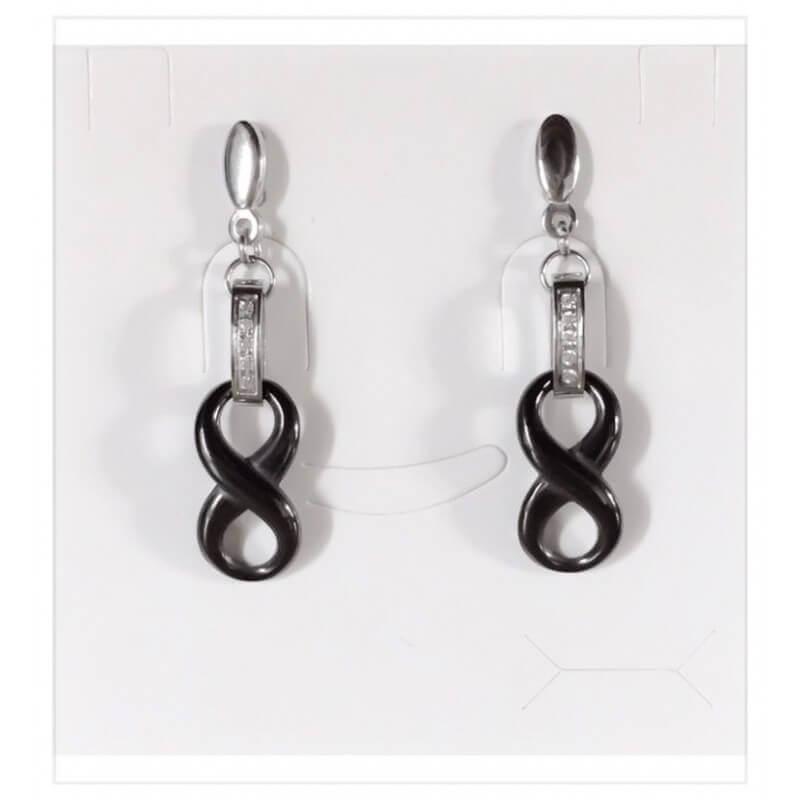 Boucles D'oreilles Infinity pendantes - Céramique Couleur Noir - Bijoux Femme