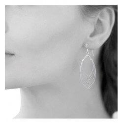Boucles D'oreilles Longues Multi Anneaux Argent Massif 925/000 Bijoux Femme