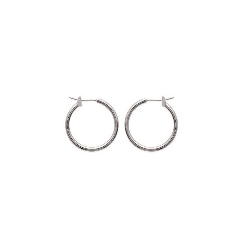 Boucles D'oreilles Créoles Rondes  2cm Argent Massif 925/1000  Bijoux Femme