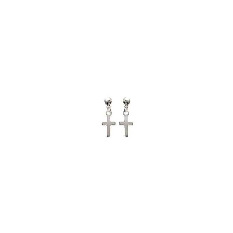 Boucles D'oreilles pendantes CROIX   Argent Massif 925 Millièmes Bijoux