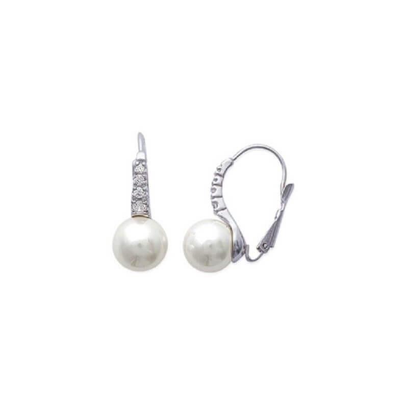Boucles D'oreilles Dormeuse Perle&Zirconium Argent Massif 925/1000 Bijoux Femme