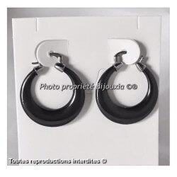 Boucles D'oreilles Créoles Céramique Noire  Bijoux Femme