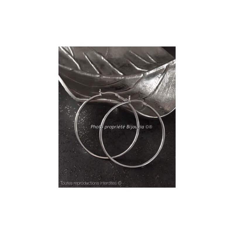 Boucles D'oreilles Créoles Rondes 5 cm Argent Massif 925/1000 Rhodié
