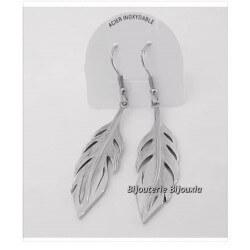 Boucles D'oreilles Pendantes Plumes Acier Inoxydable 316L- Bijoux Femme