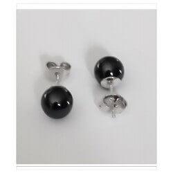 Boucles D'oreilles Boules Céramique noire - Argent Massif 925/1000 Bijoux Femme