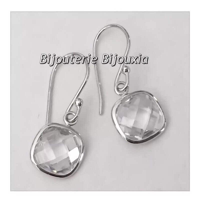Boucles D'oreilles Pendantes CRISTAL Zirconium Argent 925 Rhodié Bijoux Femme