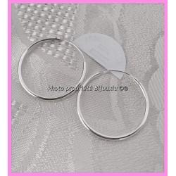 Boucles D'oreilles Créoles Lisses 3 cm Argent Massif 925/1000 Bijoux Femme