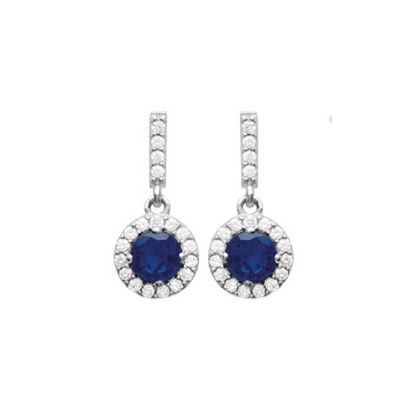 Boucles D'oreilles pendantes CZ Saphir Zirconium Argent 925/1000 Bijoux Femme