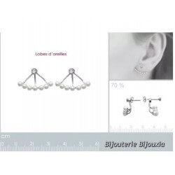 Boucles D'oreilles Lobes-perles et cristal OZ Argent Massif 925/000 Bijoux Femme