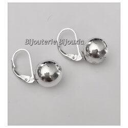 Boucles D'oreilles Dormeuses Boules Argent Massif 925/1000 Bijoux Femme