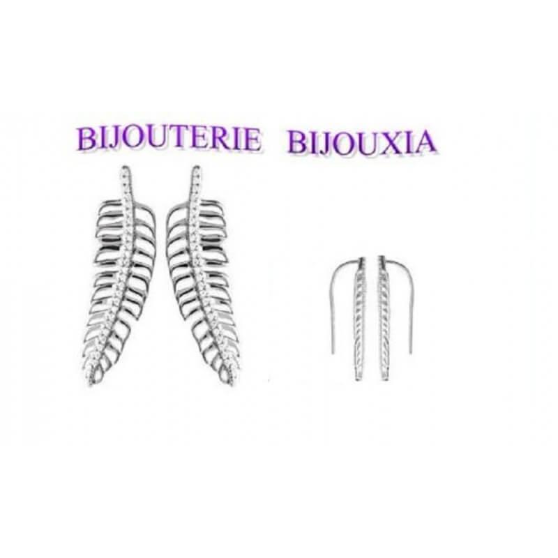 Boucles D'oreilles Feuille Pavé ZIRCONIUM Argent Massif 925/1000 Bijoux Femme