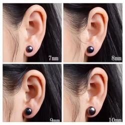 Boucles D'oreilles Véritables Perles D'eau Douce Naturelle Noire-Argent-Bijoux