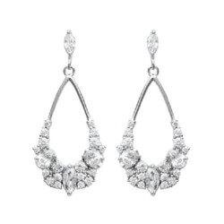 Boucles D'oreilles Pendantes Oxyde de Zirconium Argent 925/1000 Bijoux Femme