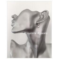 Boucles D'oreilles Perles Culture Naturelle Biwa  Argent Massif 925/1000-Bijoux